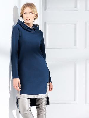 Lega medvilninė suknelė su gobtuvu Westa Navy - Silver
