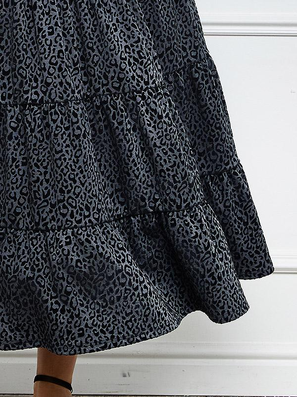"Lega suknelė ""Yvette Grey - Black Velour Cheetah Pattern"""