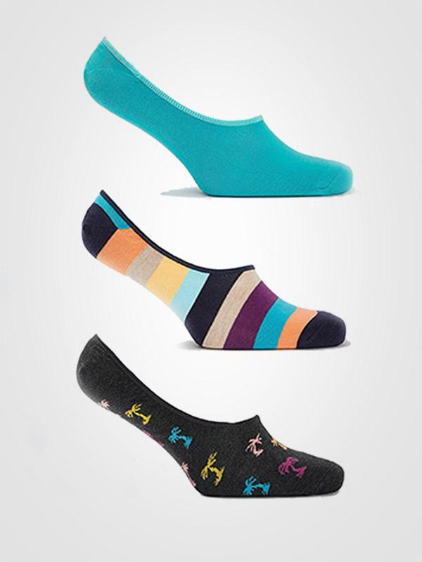 "Happy Socks 3 porų unisex kojinaičių komplektas ""Palms Graphite - Blue - Multicolor"""