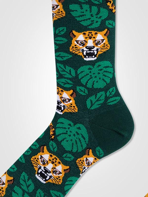 "Many Mornings unisex medvilninės kojinės ""El Leopardo Yellow - Green - Black"""